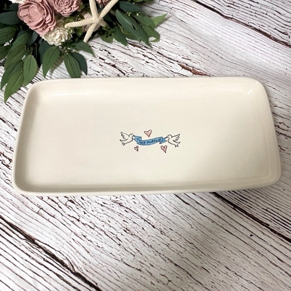 Rae Dunn Just Married White Dove Banner Tray
